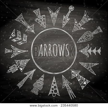 Vector Arrows Painted By Hand. Stylized Hand-drawn Pointer. Linear Geometric Arrows On A Chalkboard