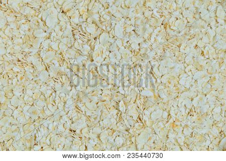 Cuisine and Food, Close Up of Uncooked Rolled Oat or Oat Flakes Textured Background. Nutrient Rich Food with Lower Blood Cholesterol. poster