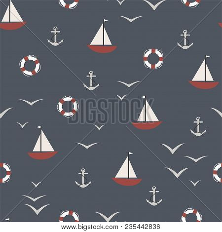 Marine Seamless Pattern With An Anchor, The Ship, A Lifeline And A Seagull. Vector.
