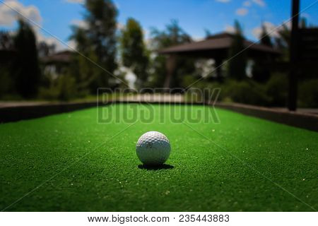 The Golf Ball Lies On The Field With The Green Grass
