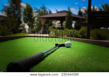 Golf Ball And Putter Lie On The Field Covered With Green Grass