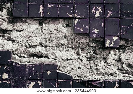 Weathered Concrete Wall Texture. Frame Of Old Tiles With Peeling Paint. Grunge Background