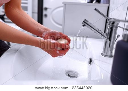 Soapy Hand Cleaning And Hygiene. Hand Washing. Cleaning Hands.