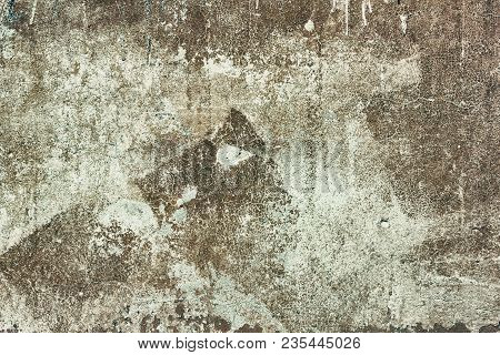 Old Shabby Concrete Wall Texture With Cracked Brown Paint. Abstract Grunge Background