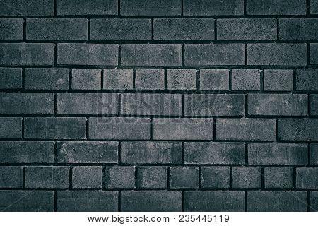 Dark Grey Brick Wall Texture. Brickwork Background