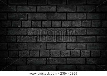 Black Brick Wall. Dark Brickwork Texture. Gloomy Grunge Background