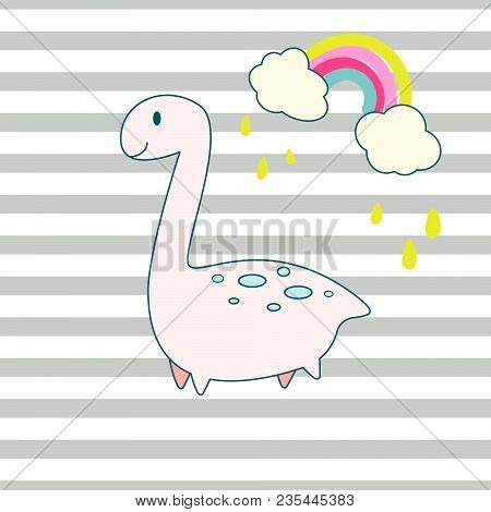 Cute Dino And Rainbow Cartoon Vector Illustration. Cheerful Animal For Kids Apparel Print On Striped