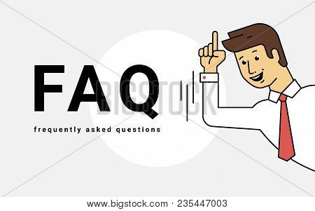 Frequently Asked Questions Concept Vector Illustration Of Young Smiling Man Gesturing Hands To Lette