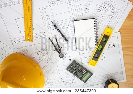 Engineering Diagram Blueprint Paper Drafting Project Sketch Architectural. Industrial Drawing Detail