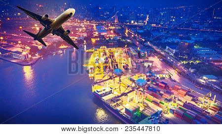 Top View Of Container Ship And Aircraft In Export And Import Business And Logistics. Shipping Cargo