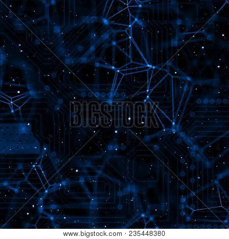 Abstract techno background with circuit board and plexus design