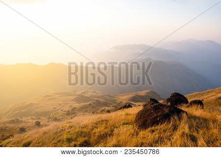 The Peak Of Mountain Of Mulayit Hill In Myanmar Country With Golden Grass