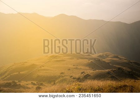 Peak Of Mountain Of Mulayit Hill In Myanmar Country With Golden Grass.