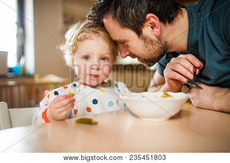 Father Feeding A Toddler Boy At Home. Paternity Leave.