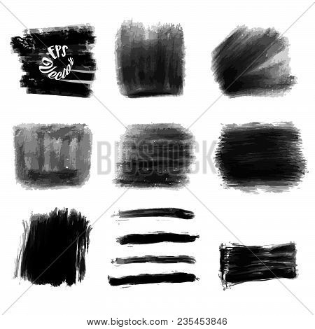 Nine Acrylic Vector Background Strokes. Set Of Black Painted Strokes. Beautiful Hand Drawn Vector Dr