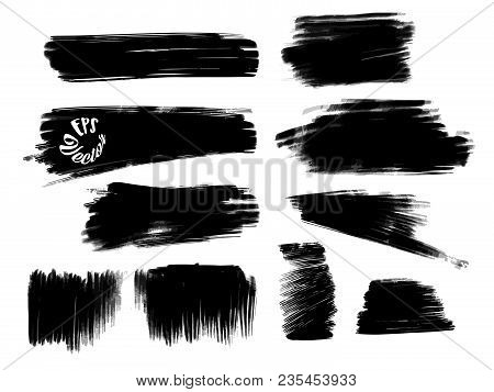 Various Painted Grunge Strokes. Set Of Black Painted Strokes. Beautiful Hand Drawn Vector Drawing. U
