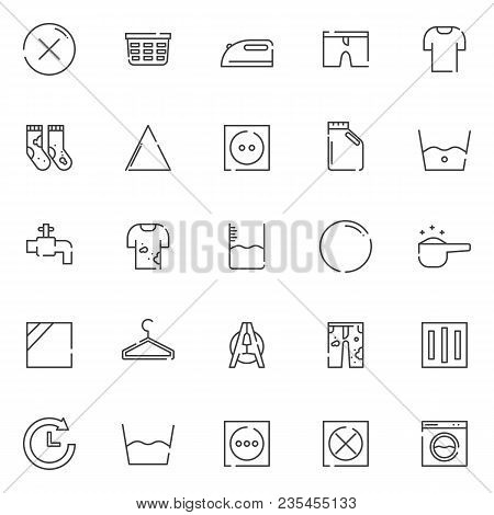 Laundry Outline Icons Set. Linear Style Symbols Collection, Line Signs Pack. Vector Graphics. Set In