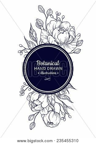 Vintage Flower Vector Frame Drawing. Peony, Rose, Leaves And Berry Sketch Composition. Engraved Bota
