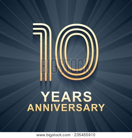 10 Years Anniversary Celebration Vector Icon, Logo. Template Design Element With Gold Color Age For