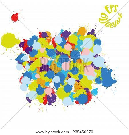 Colorful Paint Splatter Background. Beautiful Hand Drawn Backdrop. Usable For Website, Social Media