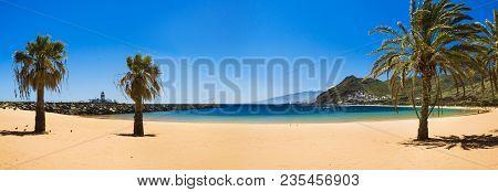 Amazing View Of Beach Las Teresitas With Yellow Sand. Location: Santa Cruz De Tenerife, Tenerife, Ca