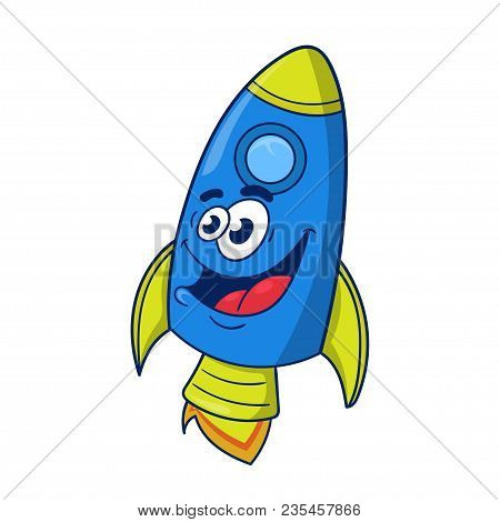Cartoon Character Design Of A Space Rocket In Flight, Vector Illustration