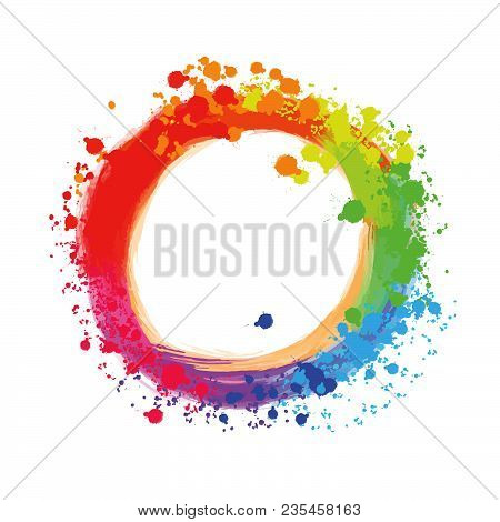Bright Background Circle With Colorful Drops. Beautiful Hand Drawn Backdrop. Usable For Website, Soc