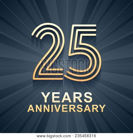 25 Years Anniversary Celebration Vector Icon, Logo. Template Design Element With Gold Color Age For