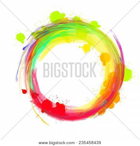 Nice Colored Background Circle. Beautiful Hand Drawn Vector Backdrop. Usable For Website, Social Med