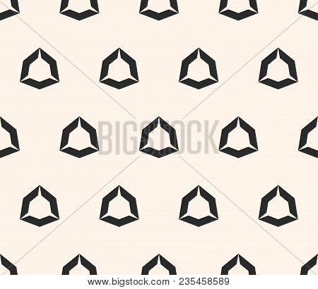 Vector Geometric Seamless Pattern With Hollow Diamond Shapes, Angular Hexagonal Figures. Simple Abst