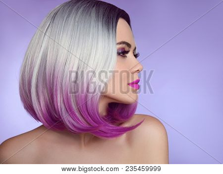 Colorful Dyed Ombre Hair Extensions. Fashion Haircut. Beauty Model Girl Blonde With Short Bob Purple