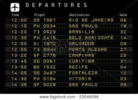 Departure board - destination airports. Vector illustration - the letters and numbers for easy editing your own messages are embedded outside the viewing area. Brazil destinations: Rio de Janeiro, Sao Paulo, Brasilia, Salvador, Porto Alegre and other citi poster