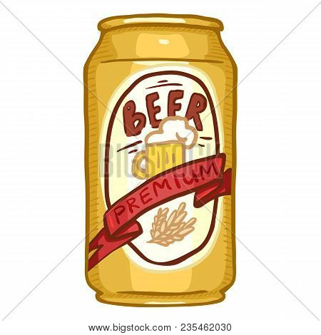 Vector Single Aluminium Can Of Premium Beer