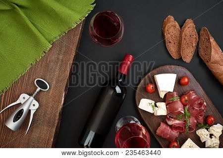 Above Overhead View Flat Lay Still Life Of Assortment Various Cheese And Delicatessen With Tradition