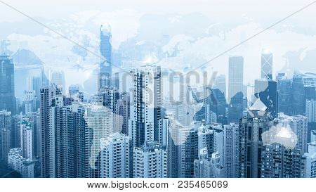 Modern Urban Skyline. Global Communications And Networking. World Map. Cyberspace In Big City. Stock