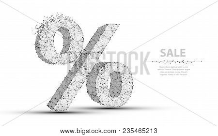 Percent Sign. Low Poly Wireframe Mesh With Crumbled Edge. Sale, Discount, Finance Symbol. Concept Il
