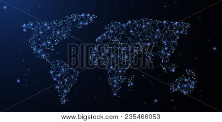 World map polygonal vector photo free trial bigstock world map polygonal wireframe mesh looks like constellation on blue night sky with dots gumiabroncs Gallery