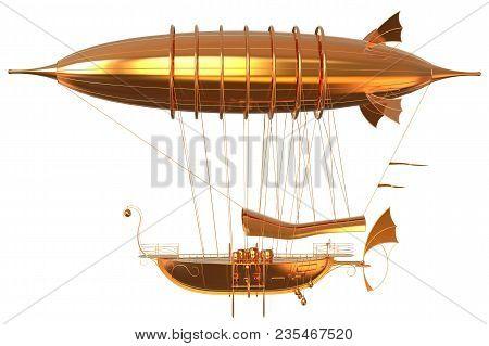 3d Illustration Golden Fantasy Airship Zeppelin Dirigible Balloon Isolated On White