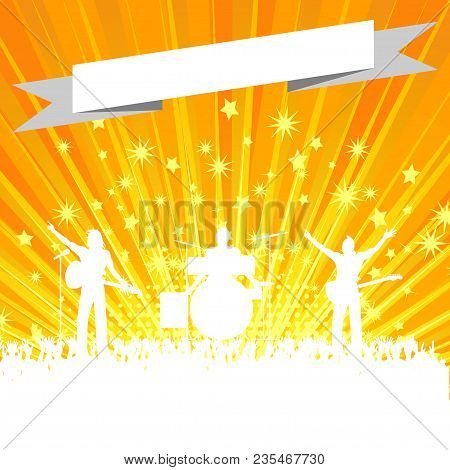 Music Band White Silhouette With Crowd And Blank Banner Over Yellow Star Burst Background