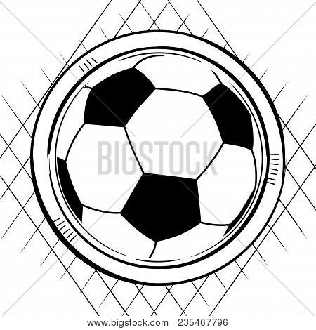 Sketch Drawing Style Of A Soccer Football Ball On White Background