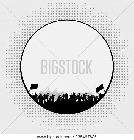 Cartoons Style White Border With Silhouette Of A Music Festival With Crowd Tends And Flags Over Whit