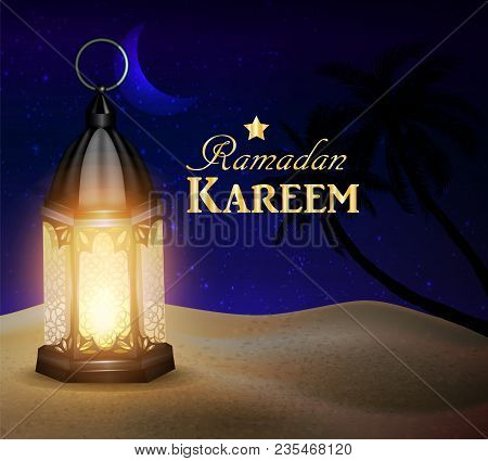 Blue Lantern Stands In The Desert At Night Sky With Moon And Palm Silhouettes Vector