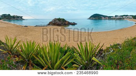 La Fosca Beach Summer Morning Landscape With Castle Ruins And Agave Plants, Palamos, Girona, Costa B