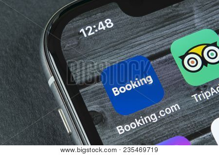 Sankt-petersburg, Russia, April 10, 2018: Booking.com Application Icon On Apple Iphone X Screen Clos