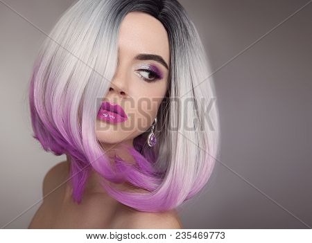 Ombre Bob Blonde Short Hairstyle. Purple Makeup. Beautiful Hair Coloring Woman. Fashion Trendy Hairc