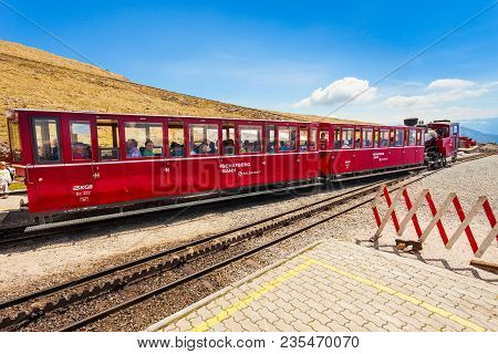 St Wolfgang, Austria - May 17, 2017: The Schafberg Railway Train Is A Gauge Cog Railway In Upper Aus