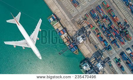Container Ships And Transport Aircraft In The Export And Import Business And Logistics International
