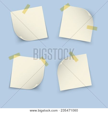 White Notes Paper Square Shape On Blue Background
