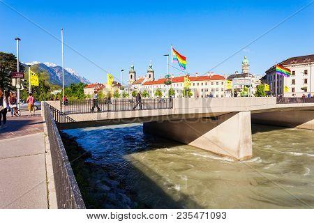 Innsbruck, Austria - May 21, 2017: Innsbruck Bridge Through The Inn River. Innsbruck Is The Capital