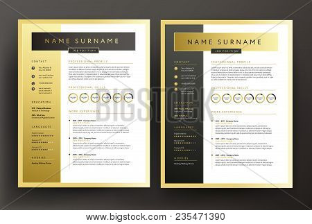 Expert Cv / Resume Template In Black And Gold Colors - Professional Curriculum Vitae Vector Design S